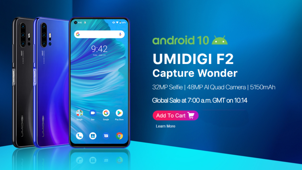 UMIDIGI F2 is the first phone which has Android 10 and also 6000 mAh battery