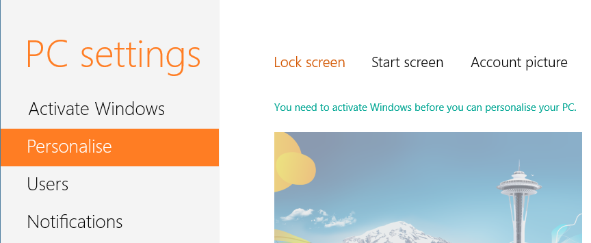 """Here and there you will notice """"Activate Windows"""" message. Also you can't personalize your theme in Windows 8."""