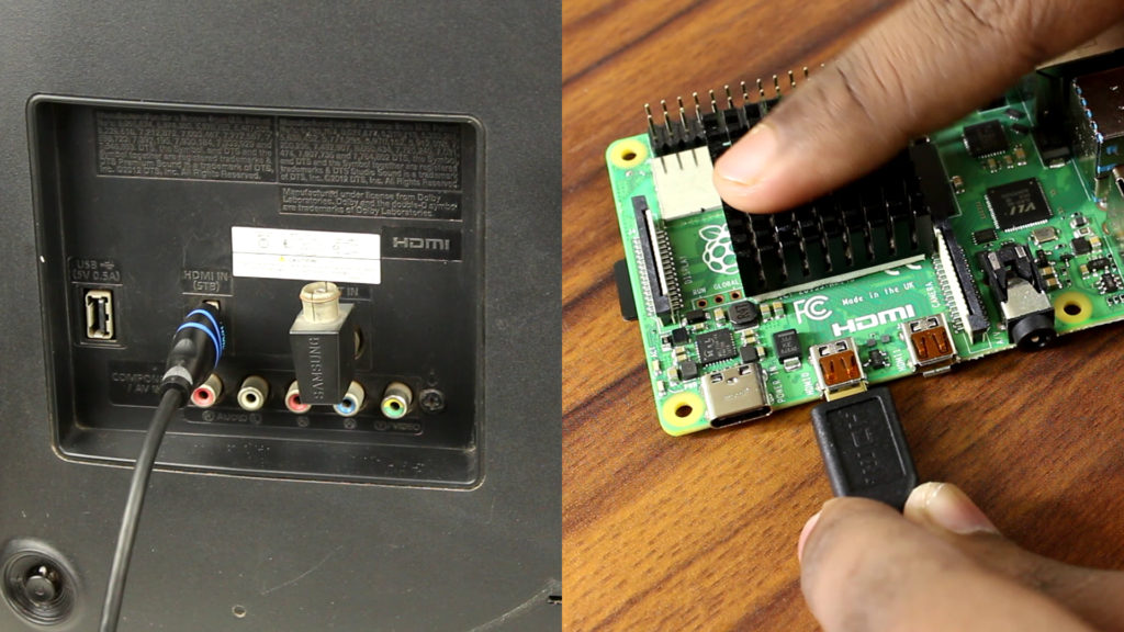 Micro HDMI to HDMI cable is used to connect  Raspberry Pie 4 with a TV