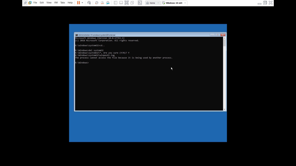 deleting system32 from Safe Mode of CMD