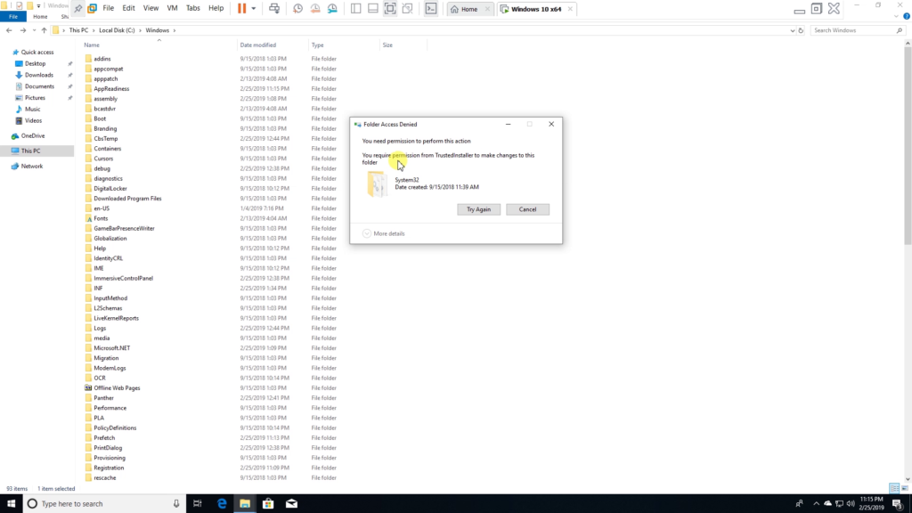 Try to delete system32 from file explorar.