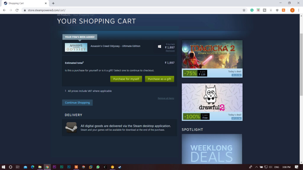 Install games from steam: add games into the Steam Cart